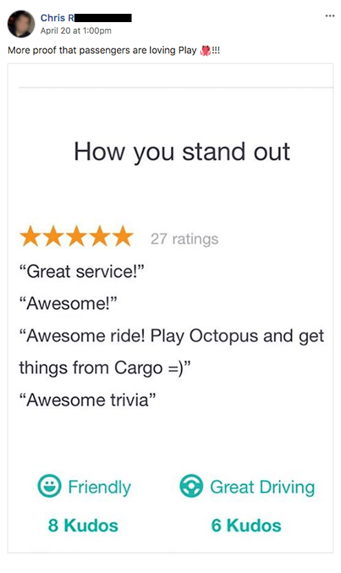 Play Octopus Rideshare Entertainment Review - Chris