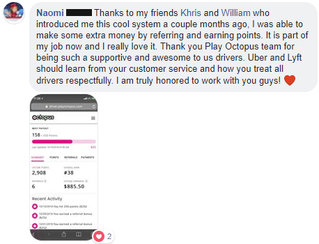 "Quote from Naomi, ""Thank you Play Octopus team for being such a supportive and awesome to us drivers"""