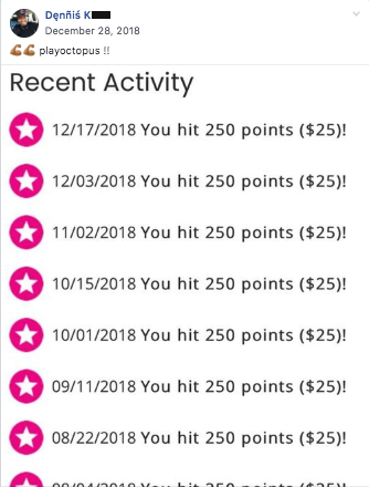 Screenshot of Dennis K's recent 250 points activity