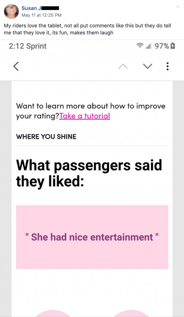 "Lyft passenger entertainment, ""She had nice entertainment."""