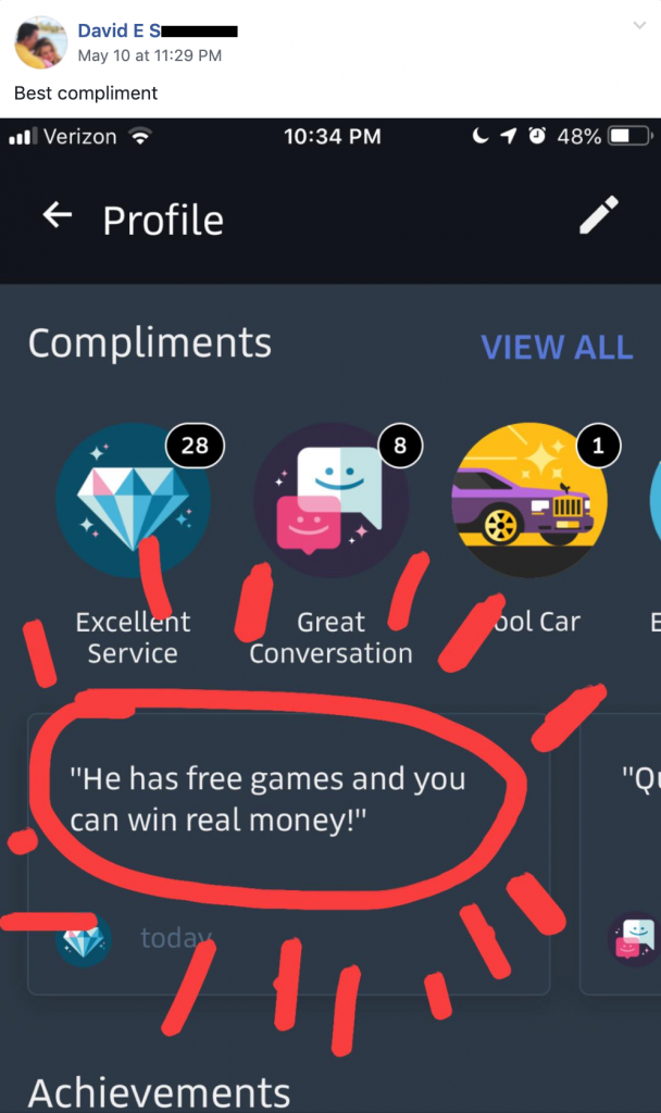 "Uber passenger quote, ""He has free games and you can win real money!"""