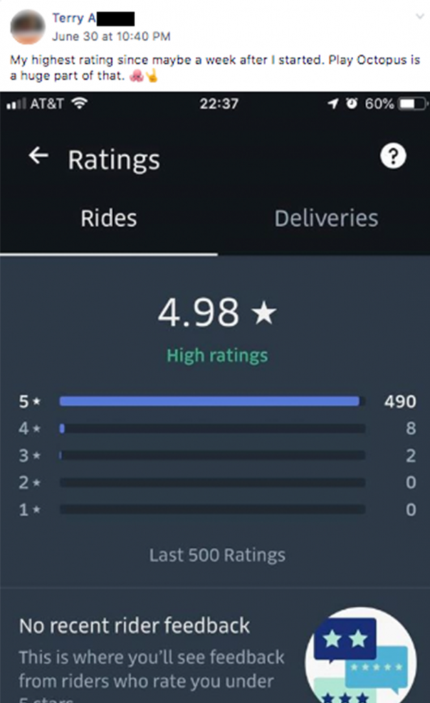 "Quote from Terry A, ""My highest rating since maybe a week after I started."""