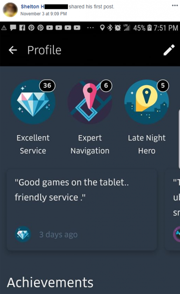 "Passenger feedback, ""Good games on the tablet"""