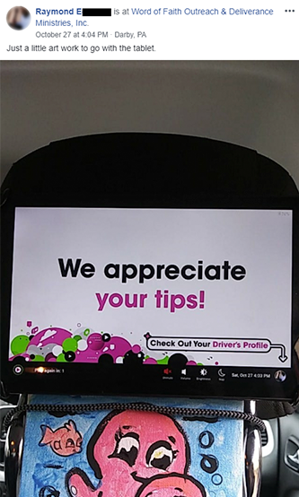 "Screen on Octopus tablet that reads, ""We appreciate your tips!"""
