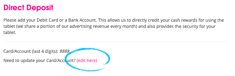 "Driver Dashboard Payments tab with ""edit here"" circled."