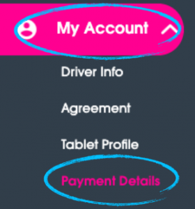 "Driver Dashboard menu with ""My Account"" and ""Payment Details"" circled."