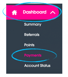 "Play Octopus Driver Dashboard with the ""Dashboard"" and ""Payments"" tabs circled."